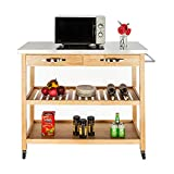 FCH Rubber Wood Kitchen Island Rolling Kitchen Storage Cart Utility Serving Cart 3 Tiers with Easy Clean Stainless Steel Table Top 2 Drawers 2 Shelves