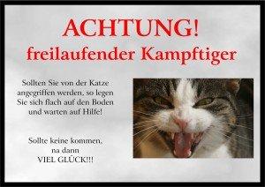 PEMA INDIGOS UG - Achtung/Fun Schild - Katze Türschild laminiert DIN A5 - Türschild für Käfig, Zwinger, Haustier, Tür, Tier, Aquarium