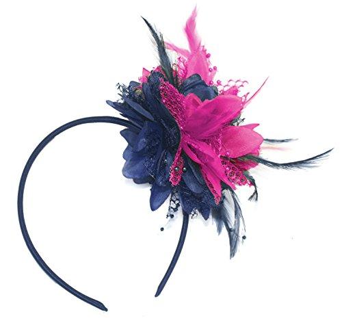 Tocado azul marino y rosa fucsia fuerte en diadema para bodas Ascot