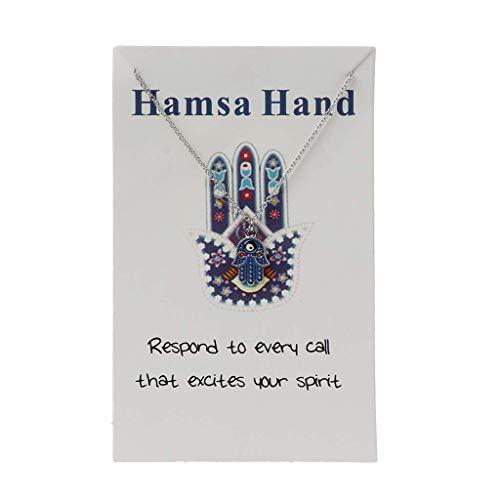 DealMux esmalte Hamsa Fátima mano colgante collar tarjeta de deseos azul mal de ojo amuleto joyería