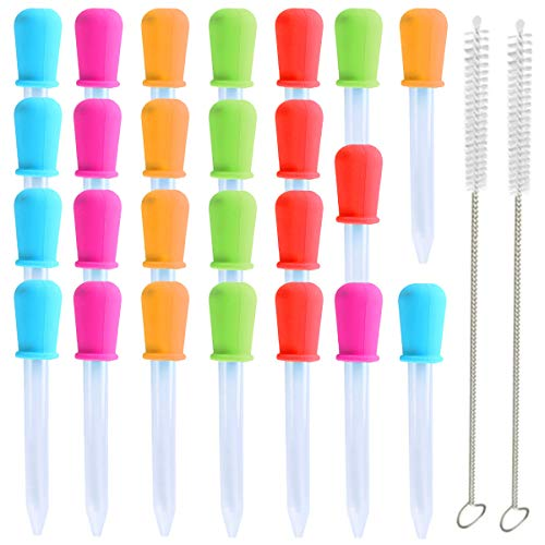 Liquid Droppers Pipettes, 25Pcs Silicone Plastic Liquid Droppers for Kids Medicine, Plastic Pipettes Medicine Transfer Eye Dropper and 2 Cleaning Brush for Kids Candy Molds Oil Kitchen Gummy Making