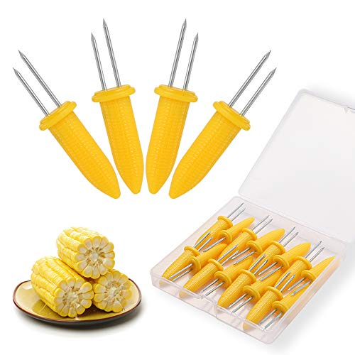 N / A Corn Holders Set, 20PCS Stainless Steel Corn Cob Holders, Corn on The Cob Skewers for BBQ, Durable Anti-Scald Corn on The Cob Holders with Storage Box for Home Cooking Forks