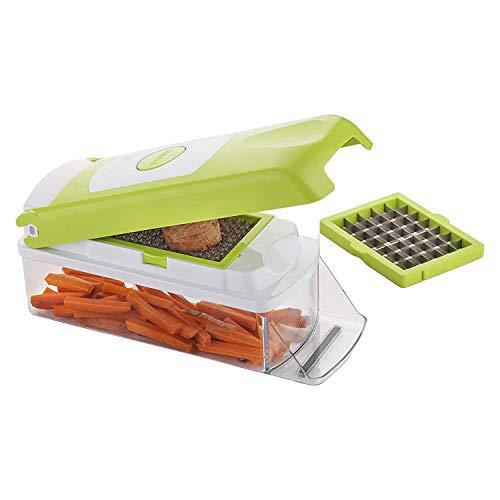 Chopper per verdure 5-IN-1: L'affettatrice per mandolino offre la funzionalità di più utensili da cucina con 5 tipi diversi di lame in acciaio inossidabile, contenitori da 1,3 litri e raschietti puliti La protezione per le dita modellata e la base an...