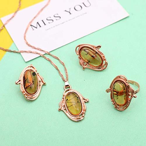 liuliu Conjuntos de Joyas, Collar de Color Dorado Nupcial Africano, Pendientes, Anillo, Cristal de Boda,Conjunto de Joyas de Moda para Mujer