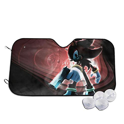 Small Car Windshield Sun Shade Block Sun Glare Visor Shield Cover, Game Poster Sonic Shadow The Hedgehog Auto Vehicle Shield for Trucks Cars to Fits Windshields of Various Sizes