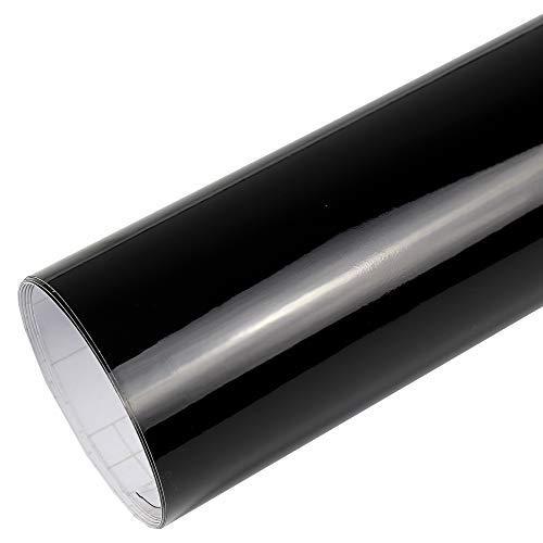 Rapid Teck® 7€/m² Premium – Glanz Schwarz 2m x 1,52m Auto Folie Blasenfrei mit Luftkanälen für Auto Folierung und 3D bekleben in Matt Glanz und Carbon Autofolie