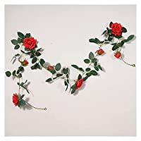 QINGXUEG人工植物2m人工バラシルクフラワーつる籐装飾花つるプラスチックフラワー籐結婚式の家に飾る装飾的な人工植物をぶら下げます