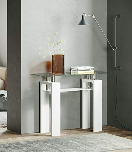 Metro Clear Glass Top High Gloss Base Contemporary Console Table (White)