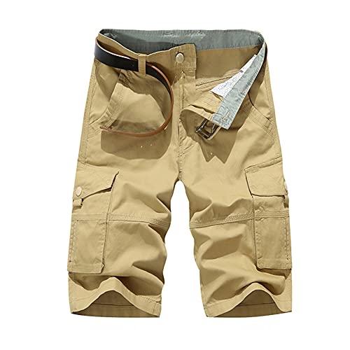 LZJDS Pantalones Cortos De Carga De Los Hombres Más Tamaño Multi-Bolsillo Suelto Medio Pantalones De Color Sólido,Caqui,34