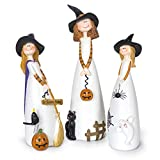 Besti Halloween Witch Decorations, 3 Piece Set, Cute Home and Party Holiday Decor and Fall Accents, Classic Witches Hats, Cat, Ghost, Crow, and Pumpkins, Ceramic Figurines
