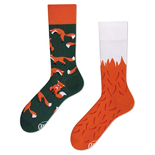 Many Mornings unisex Socken The Red Fox (Grün, Orange, Weiß, 35-38)