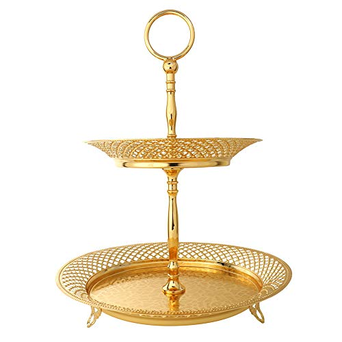 2 Tiered Cupcake Stand Serving Trays Platters Fruit Plates Tabletop Centerpiece with Golden Metal Handle Stunning Sturdy for Party Wedding Birthday Home Decoration and Gift Giving - Round Mesh Edge