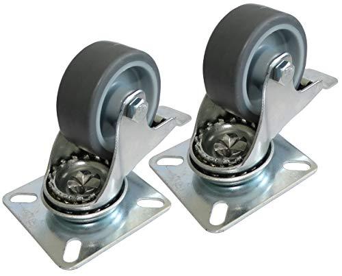 Aerzetix C42243 2 x wiel voor meubels, draaibaar, met remmen, diameter 50 mm, breedte 20 mm, hoogte 69,5 mm, 40 kg, montageplaat 60 x 60 mm