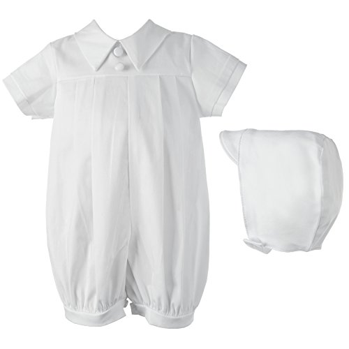 Lauren Madison Baby Boy Infant Christening Baptism Polished Short Romper, White, 9-12 Months