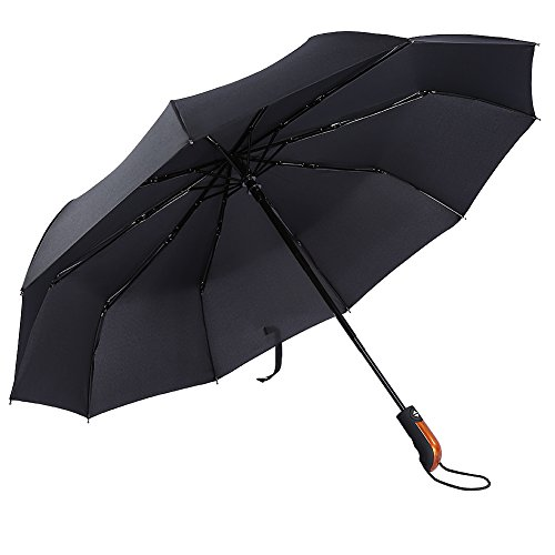 Ombrello Pieghevole da Viaggio 10 Stecche Rinforzate Anti-Vento Automatico Apri e Chiudi 210T Teflon Impermeabile Parasol Pioggia/Sole Doppia-Uso Portatile Compatto Nero Ombrello per Uomo e Donna