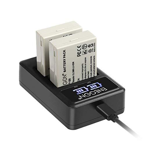LP-E8 Batería de Repuesto (Paquete de 2) y Smart LED Cargador Dual USB para Canon LP-E8 y Canon EOS Rebel T2i, T3i, T4i, T5i, EOS 550D, 600D, 650D, 700D, Kiss X4,X5,X6