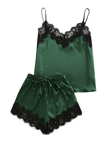 MakeMeChic Women's Lace Satin Sleepwear Cami Top and Shorts Pajama Set Green S