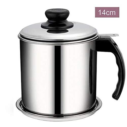 selfdepen Ölsieb Pot Fettkanne 1,3/1,8 l Edelstahl-Öllagerung, Fettbehälter im Fettsieb Pot mit Staubschutzdeckel aus feinmaschigem Sieb