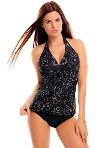 Octopus Tankini para mujer con braguita de dos piezas f5627 Negro con círculos 38
