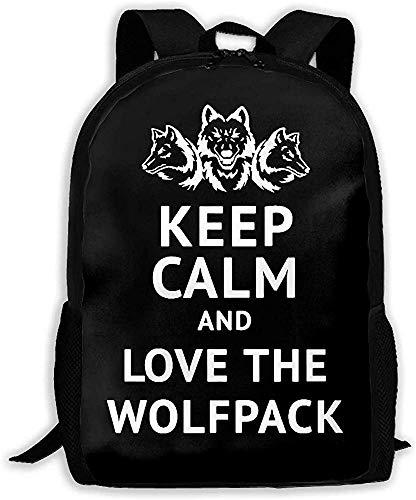 Mochila Unisex Mantener la Calma y amar The Wolfpack Mochila Unisex Bolso de Hombro Mochila Escolar Mochilas de Viaje Mochila para portátil