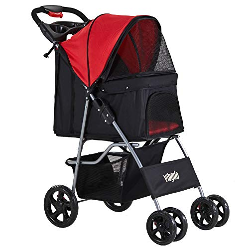 VIAGDO Dog Stroller, Pet Strollers for Small Medium Dogs & Cats, 4 Wheels Dog Jogging Stroller...