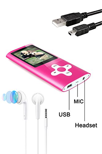 Tabmart Metal Hi-Fi Capacità Di 16GB Lettore MP3 Musicale Portatile Lettore MP4 Ad Alta Risoluzione Con 1,8 Pollici Schermo MP3 Lettore Multifunzione 10 Ore Di Riproduzione Continua, Rosa