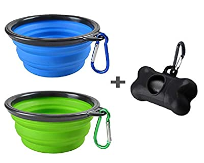 MOGOCO 2 Pack Portable Collapsible Dog Bowl,Foldable Travel Bowl Dish for Pet Dog Cat RABIT Food Water Feeding,Including a Black Poop Bag Holder Dispenser and a Roll of Bags (Blue and Green,Small)