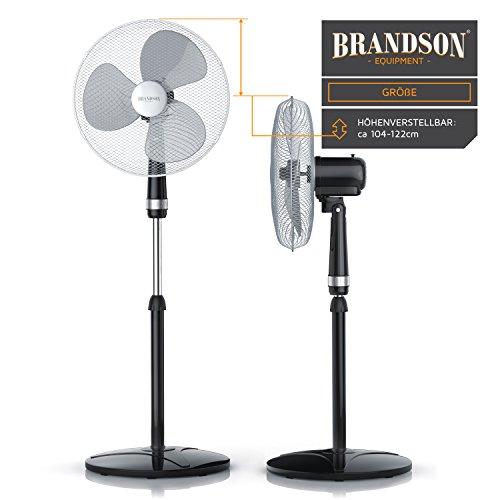 Brandson – Standventilator 40cm | Ventilator Standfuß höhenverstellbar | hoher Luftdurchsatz | 3 verschiedene Geschwindigkeitsstufen | Oszillationsfunktion ca. 80° | silber/schwarz Bild 5*
