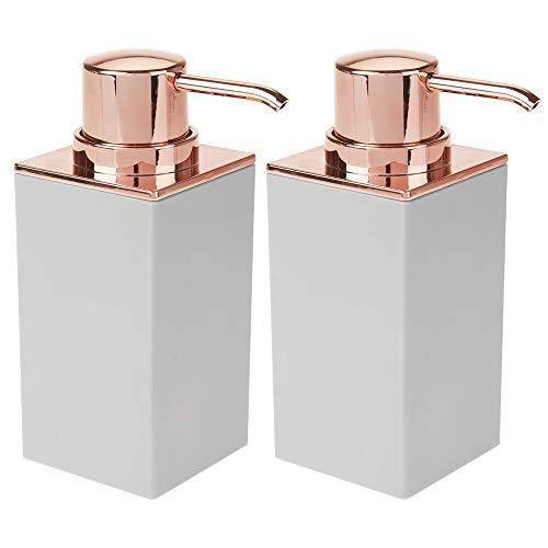 mDesign Juego de 2 dosificadores de jabón recargables – Útil dispensador de jabón líquido de aprox. 300 ml – Elegante dispensador de jabón de manos de plástico para baño – gris claro y dorado rosado