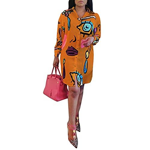 Camisa Estampada con Solapa Nueva para Mujer Blusa con Dobladillo Irregular De Manga Larga