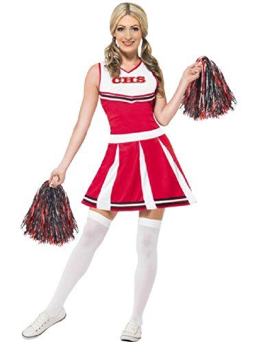 Smiffys Costume pom pom girl avec robe et pompons - Rouge - M (40-42)