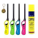 Clipper 4 Encendedores Cocina barbacoa + 1 Botella Gas Azul 300 ml + 1 Llavero, Gas Sirve Para Recargar Soplete de Cocina
