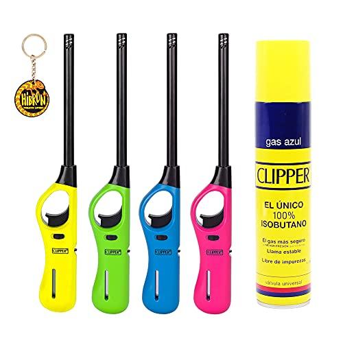 Clipper 4 Encendedores Mecheros Cocina barbacoa + 1 Botella Gas Azul 300 ml + 1 Llavero, Gas Sirve Para Recargar Soplete de Cocina ✅