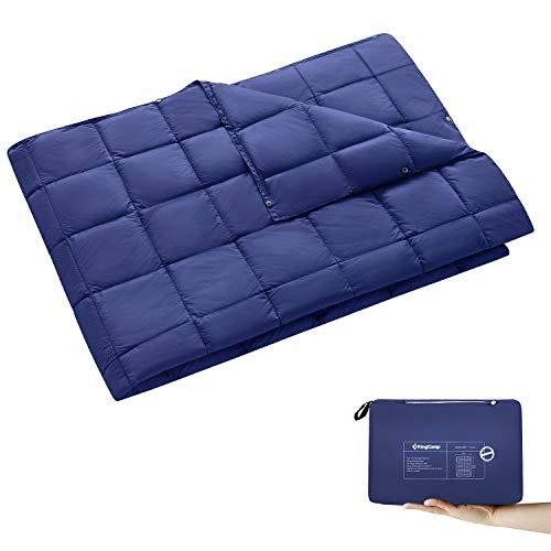 KingCamp Ultraleicht Reisedecke Outdoor Decke Wasserabweisend Kompakt für Camping Picknick Reisen, 175 × 135 cm, Dunkelblau