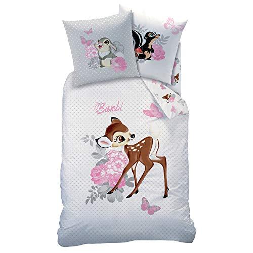 Schöne Disney´s Bambi Wende Bettwäsche-Set 135 x 200 cm 80 x 80 cm 100% Baumwolle Kinderbettwäsche in einem zarten Grau-ton