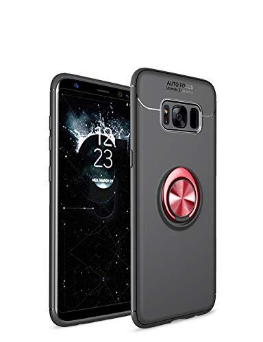 Jieao Beschermhoes voor de Samsung Galaxy S8, ultradun, met magnetische houder voor de auto, hoogwaardige siliconen beschermhoes met ringgrip, houder Galaxy S8 zwart/rood