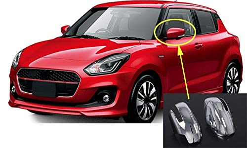 DZWLYX Side Door Mirror Cover 2pcs Exterior Side Door Rear View Mirror Cover Cap Trim Fit for Suzuki Swift Hatchback 2018-2019 Auto Accessories