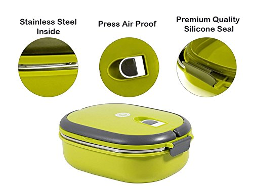 TEDEMEL Lunch/Dinner Tiffin Box for School Office Airproof Vacume, Inner Stainless Steel Lunch Box 900ML (Green)