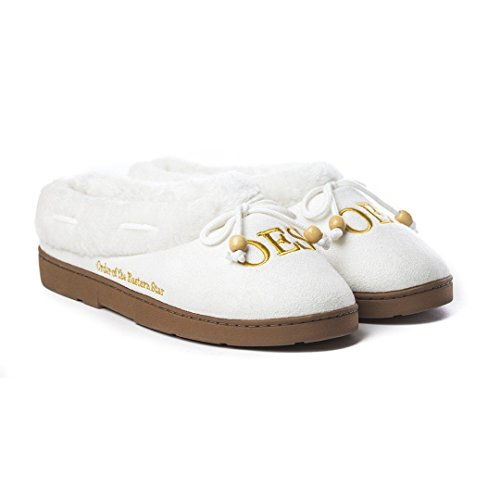 Keleafrica Order of The Eastern Star Cozy Slippers (Large) White, Gold