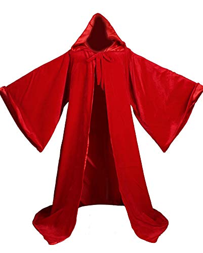 LuckyMjmy Velvet Wizard Robe with Satin Lined Hood and Sleeves (Red)