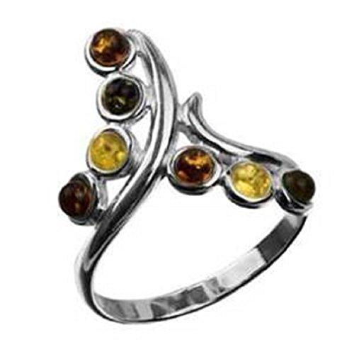 Mehrfarbiger Bernstein Sterling Silber Twig Ring Größe 52 (16.6)