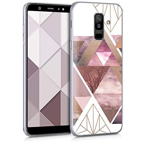 kwmobile Hülle kompatibel mit Samsung Galaxy A6+/A6 Plus (2018) - Handyhülle - Handy Case Glory Dreieck Muster Rosa Rosegold Weiß