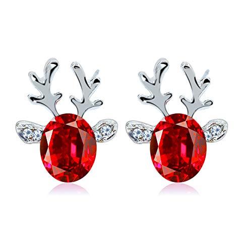 QPOLLY Pendientes de Cristal de la Piedra Preciosa Tridimensional del Reno de Las Astas, Pendientes de Cristal para muje, para Navidad, Rojo