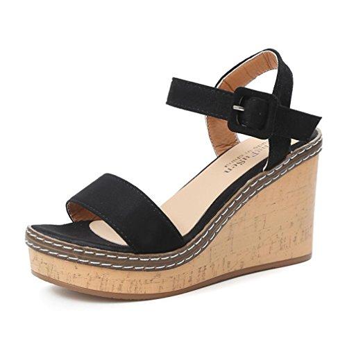 Chaussures à Talons Femme Compensees Chaussures de Plage Ballerine Escarpin Chaussures de Sport Tongs Fish Mouth Talons Hauts Sandales Buckle Slope ELECTRI (38, Noir)