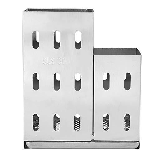 Soporte para palillos Soporte para palillos de acero inoxidable 304 con gancho Contenedor de almacenamiento para cubiertos Accesorio de cocina 5.2x4.3x2.2in