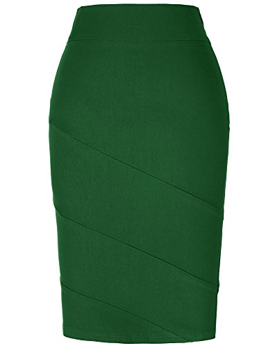 Comfortabel Cotton Pencil Skirt for Office,Dark Green,X-Large