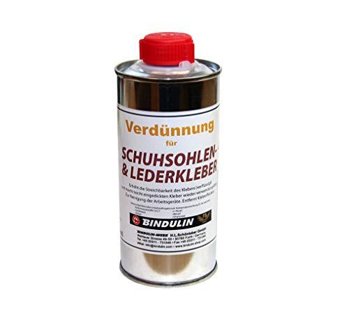 Spezial Verdünnung für Profi Lederkleber Schuhsohlen-Kleber von Bindulin - erhöht Streichbarkeit, entfernt Flecken, reinigt Werkzeug - Lösungsmittels für Lederkleber, 250ml