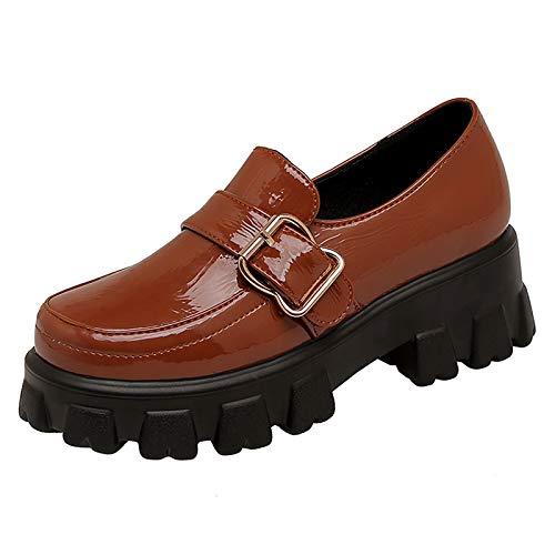 LanreyTaley Damen Beiläufig Dicke Sohle Slipper Schuhe Chunky Uniform Abendschuhe Schule Oxford Schuhe Ohne Verschluss TuoSe Size 37 Asian