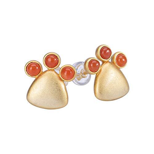 THTHT Vintage lange oorbellen S925 Dames Zilver Goud zegen agaat Rood Claw Elegante Chinese stijl hoge Temperament, geschenk