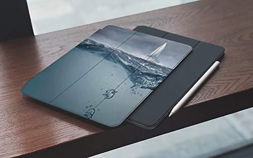 MEMETARO Funda para iPad (9,7 Pulgadas 2018/2017 Modelo), Superficie oceánica sumergida Vista tormentosa Flota Flotante Sky Yacht Arriba, Smart Leather Stand Cover with Auto Wake/Sleep